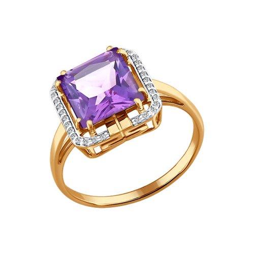Кольцо из золота c аметистом огранки принцесса и фианитами