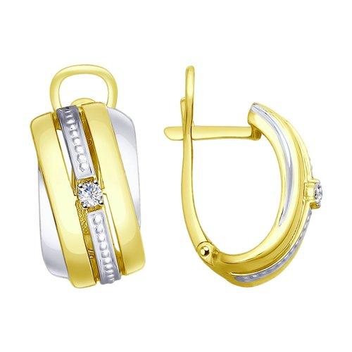 Серьги из желтого золота с бриллиантами (1021165-2) - фото