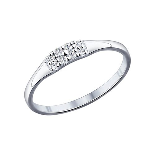 Кольцо из серебра с фианитами (94011714) - фото
