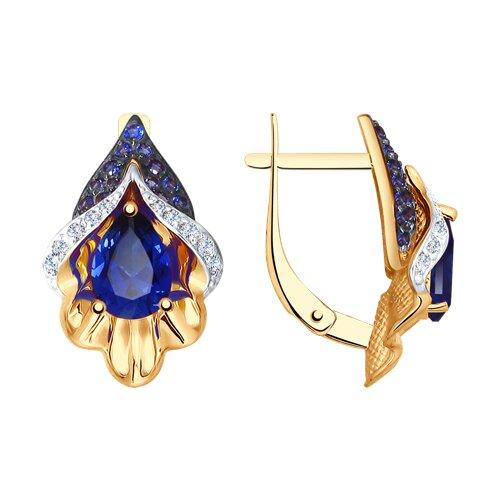 Серьги из золота с синими корундами (синт.) и бесцветными и синими фианитами (725101) - фото