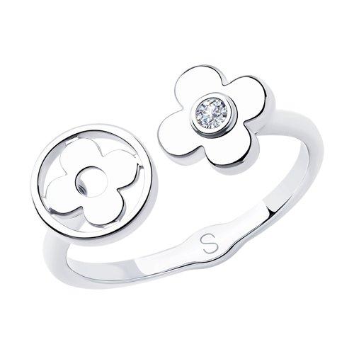 Кольцо из серебра с фианитом (94012996) - фото