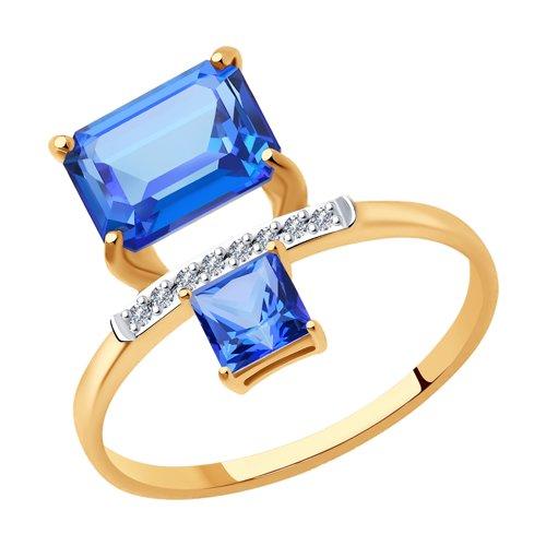 Кольцо с бриллиантами и синими камнями