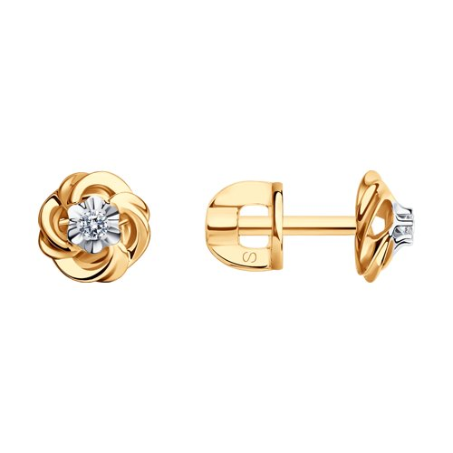 Серьги-пусеты из золота с бриллиантами (1020878) - фото