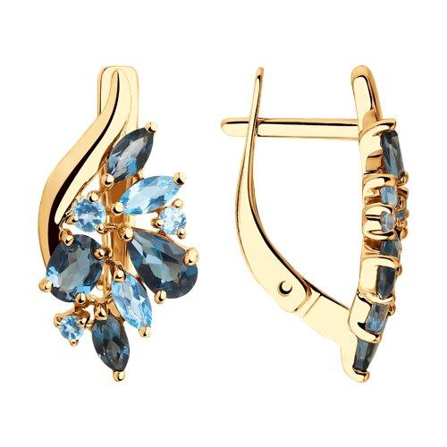 Серьги из золота с голубыми и синими топазами (725773) - фото