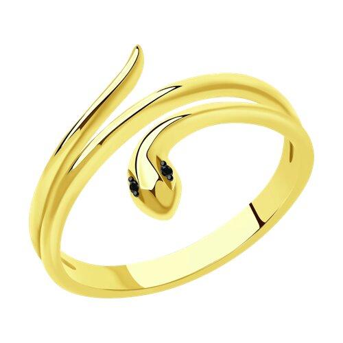 Кольцо из желтого золота с черными облагороженными бриллиантами 7010068-2 SOKOLOV фото