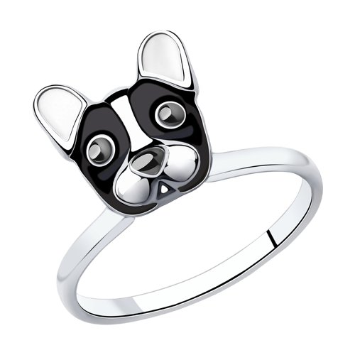 Кольцо из серебра с эмалью (94012998) - фото