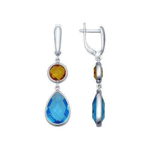 Серьги длинные из серебра с голубыми и жёлтыми стеклянными вставками (94021757) - фото