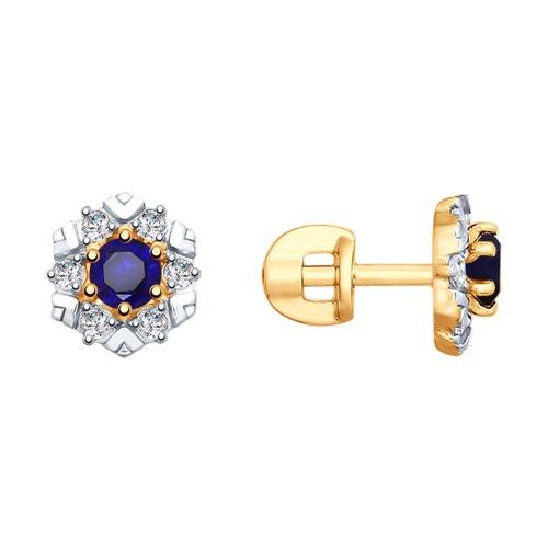 Серьги из золота с синими корундами и фианитами 725781 SOKOLOV фото