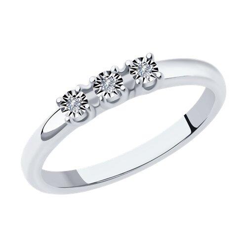 Кольцо из белого золота с бриллиантами (1011875) - фото