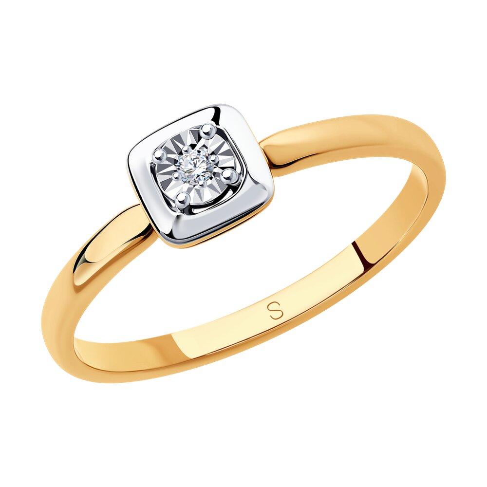Кольцо SOKOLOV из комбинированного золота с алмазной гранью золотое кольцо крыло с алмазной гранью sokolov