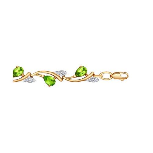 Браслет SOKOLOV из золота с фианитами и хризолитами серебряный браслет с хризолитами sokolov