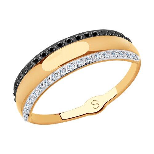 Кольцо из золота с фианитами (017826) - фото