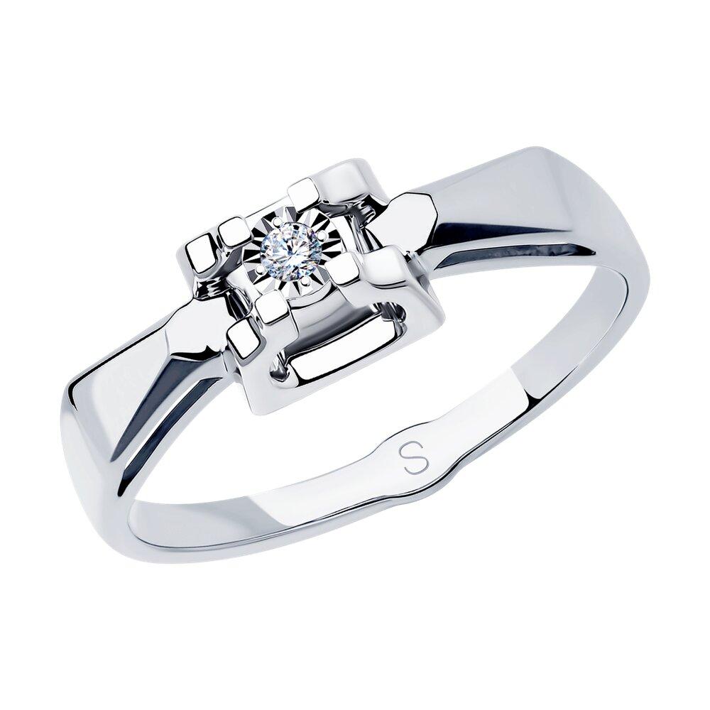 Кольцо SOKOLOV из белого золота с алмазной гранью с бриллиантом