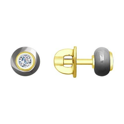 Пусеты из жёлтого золота с бриллиантами и керамикой (6025083) - фото