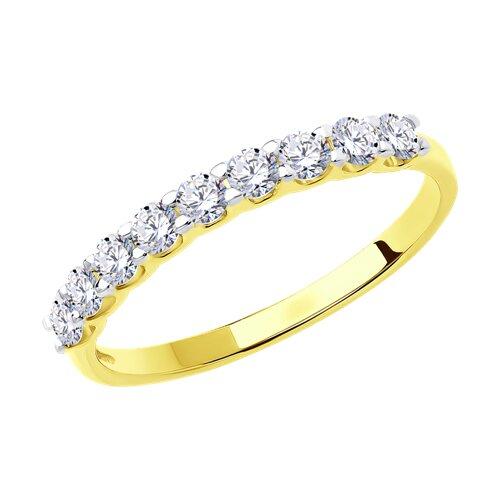 Кольцо из желтого золота с фианитами (017169-2) - фото