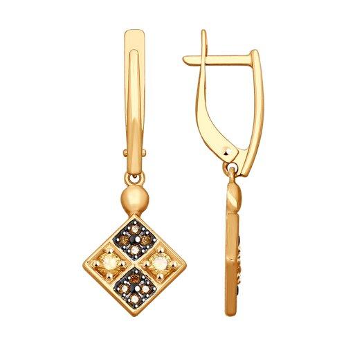 Серьги из золота с фианитами (027986-4) - фото