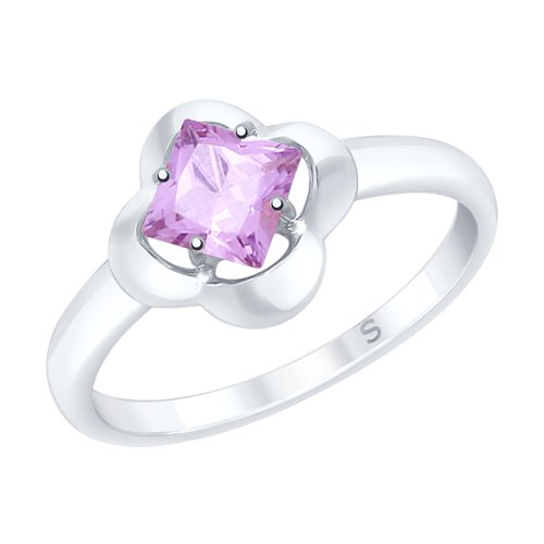 Кольцо из серебра с аметистом (92011727) - фото