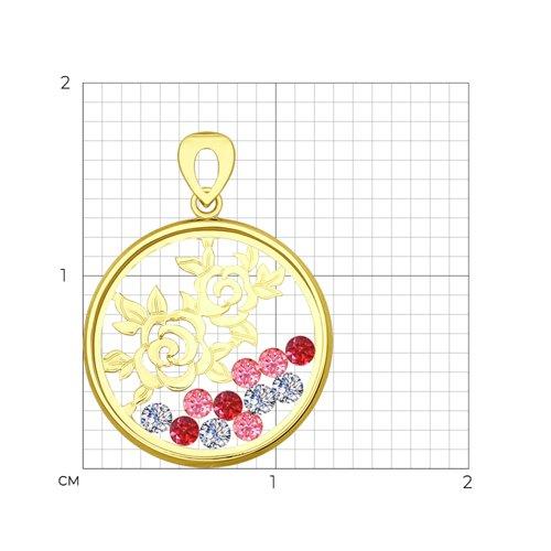 Подвеска из желтого золота с минеральным стеклом и бесцветными, красными и розовыми фианитами (035100-2) - фото №2