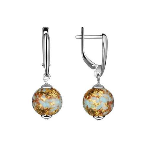 Серьги SOKOLOV из серебра с муранским стеклом серебряное кольцо с фианитами и муранским стеклом лазурного цвета