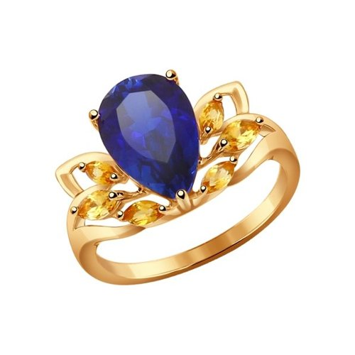 Кольцо из золота с корундом сапфировым (синт.) и цитринами