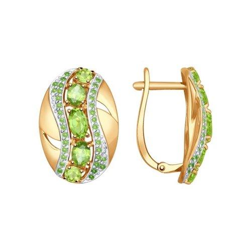 Серьги из золота с зелёными фианитами и хризолитами