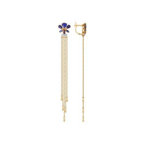 Серьги длинные из золота с корундами сапфировыми (синт.) и фианитами