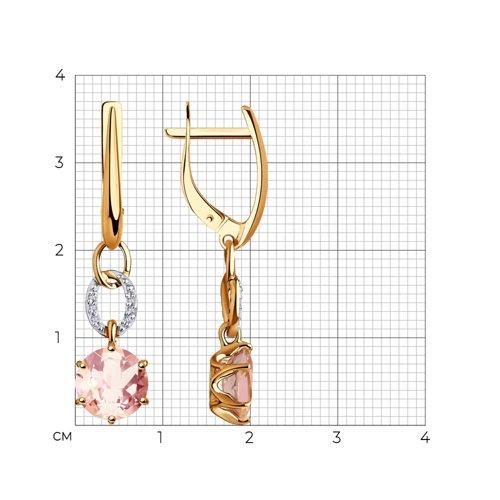 Серьги из золота с бриллиантами и морганитами 6024192 SOKOLOV фото 2