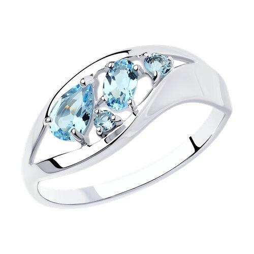 Серебряное кольцо с голубыми топазами (92011636) - фото
