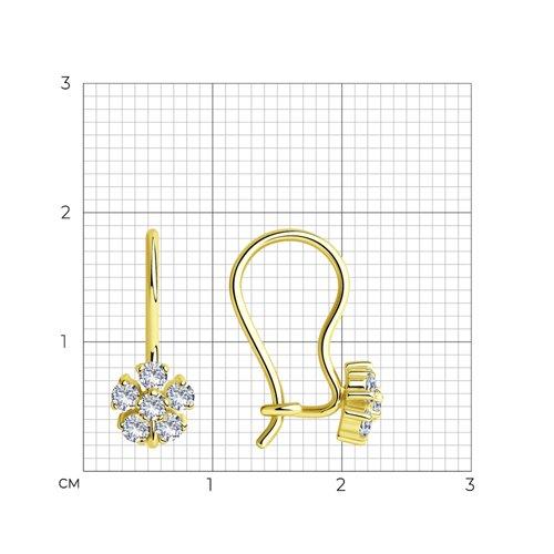Серьги из желтого золота с фианитами (022674-2) - фото №2