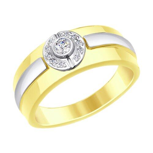 Кольцо из комбинированного золота с бриллиантами (1011648-2) - фото