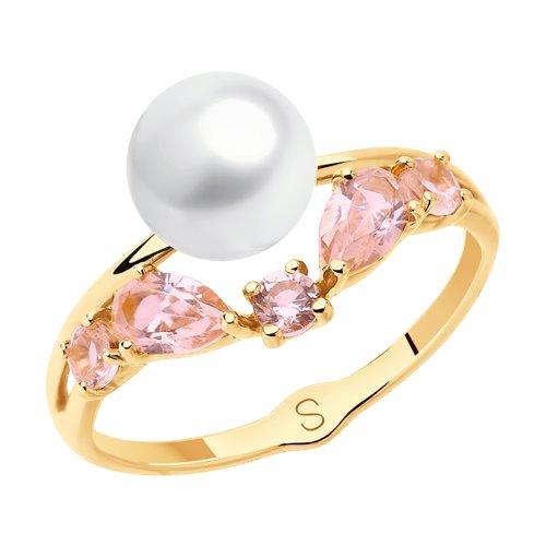 Кольцо из золота с жемчугом и розовыми ситаллами (791108) - фото