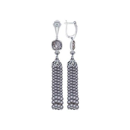 Серьги длинные из серебра с жемчугом Swarovski, чёрными кристаллами Swarovski и фианитами