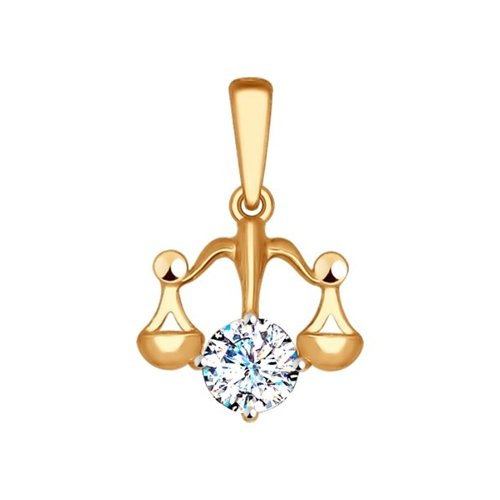 Подвеска «Знак зодиака Весы» из красного золота (034958) - фото