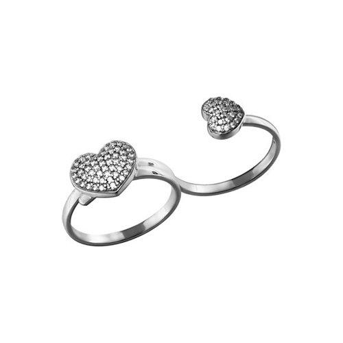 Серебряное кольцо на два пальца