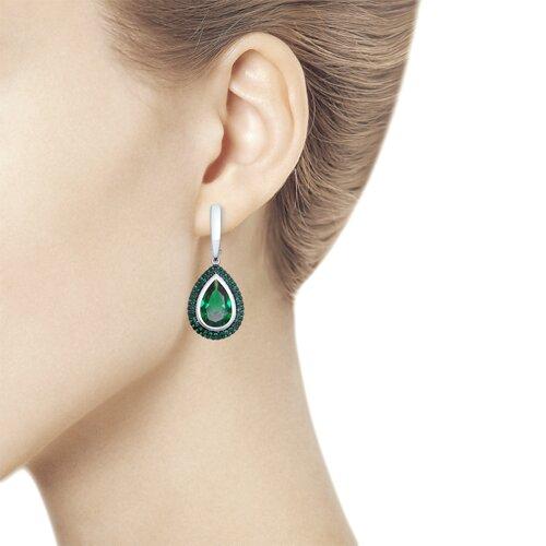 Серьги из серебра с зелёными ситаллами и  фианитами (92021469) - фото №3
