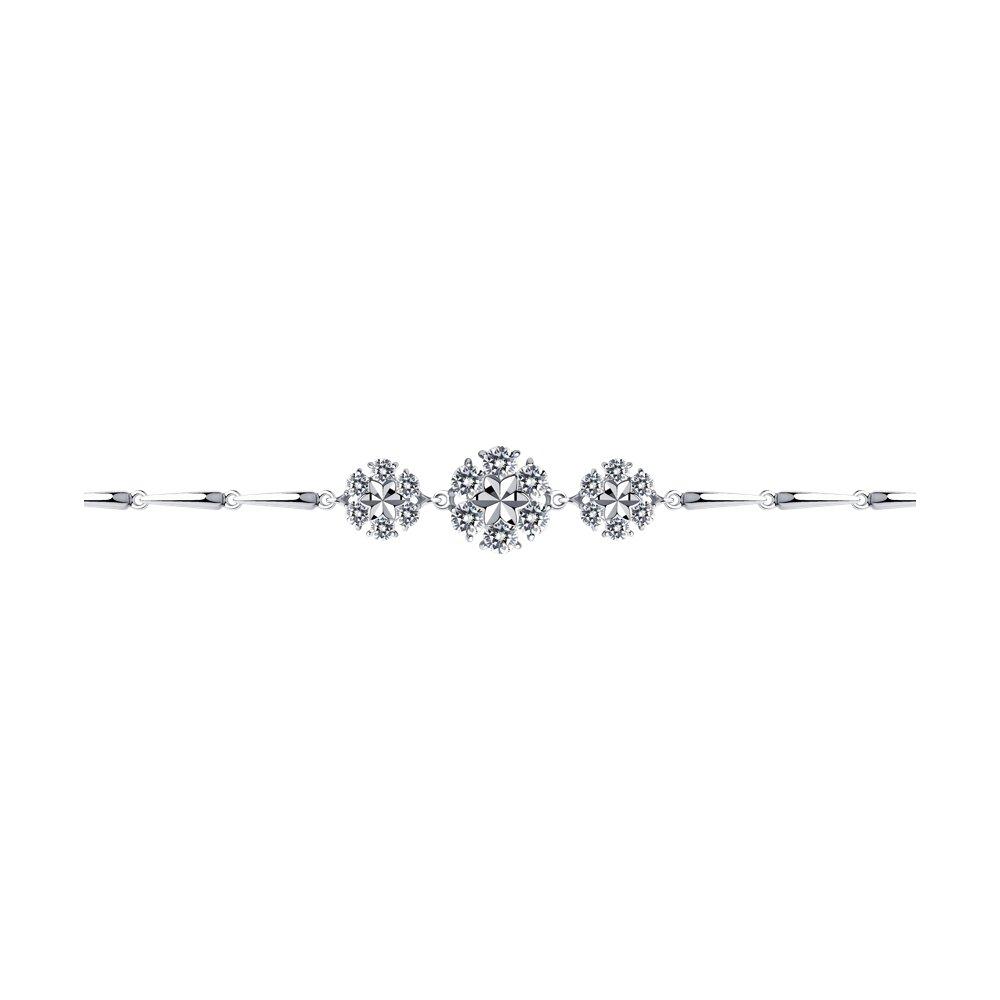 Браслет SOKOLOV из серебра с алмазной гранью с фианитами