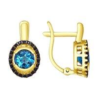 Серьги из желтого золота с синими топазами и фианитами