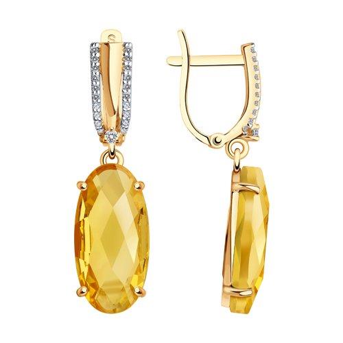 Серьги из золота с фианитами и цитринами