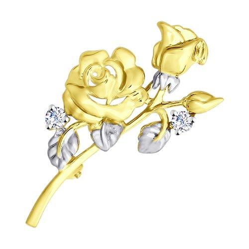 Брошь из желтого золота с фианитами (040225-2) - фото