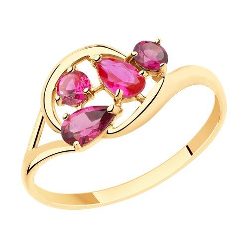 Кольцо из золота с родолитами и красными корундами (715442) - фото