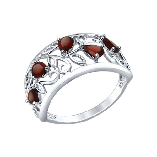 Кольцо из серебра с гранатами (92011376) - фото