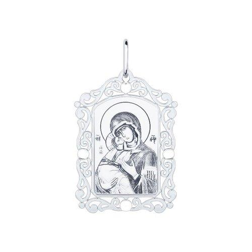 Серебряная нательная иконка с ликом Божьей Матери Владимирской (94100228) - фото