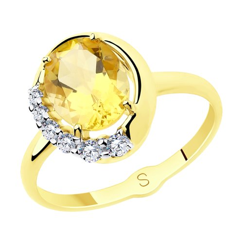 Кольцо из желтого золота с цитрином и  (715655-2) - фото
