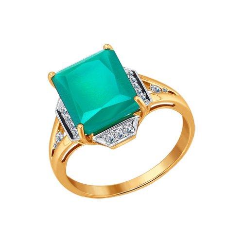 Золотое кольцо с зелёным агатом SOKOLOV золотое кольцо ювелирное изделие 01k645533