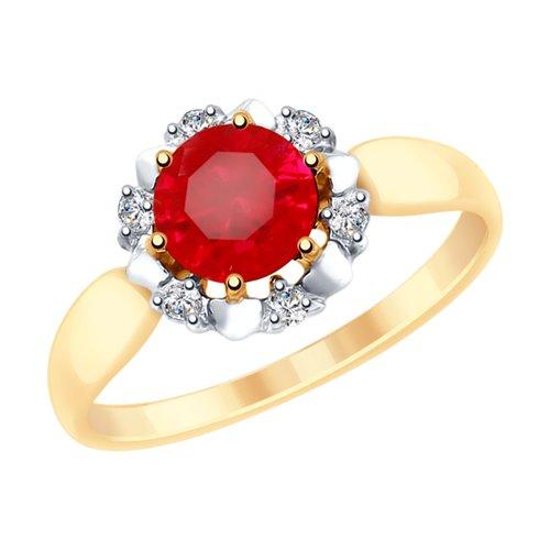Кольцо из золота с красным корундом (синт.) и фианитами (715299) - фото