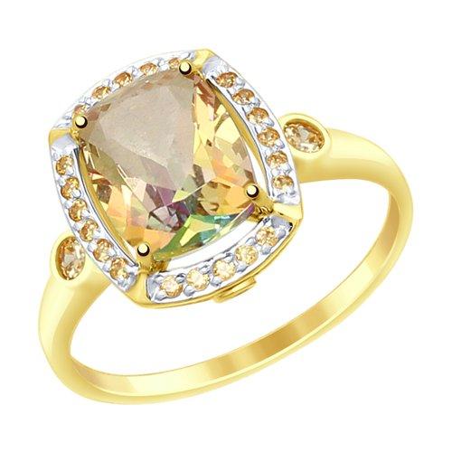 Кольцо из желтого золота с топазами Swarovski и фианитами Swarovski (714984-2) - фото