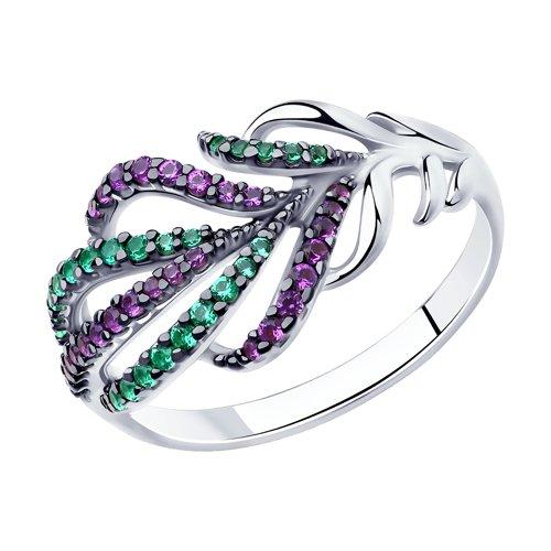 Кольцо из серебра с сиреневыми и зелеными фианитами (94012141) - фото