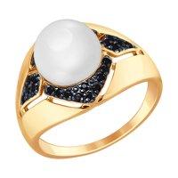 Кольцо из золота с жемчугом и чёрными фианитами
