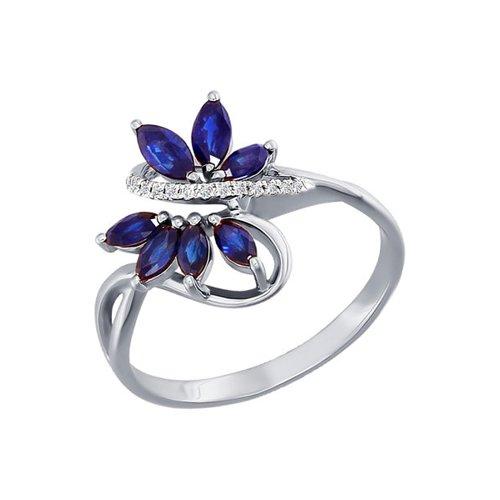 Кольцо с сапфирами и бриллиантовой дорожкой