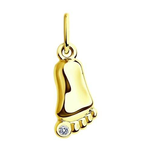 Подвеска из желтого золота с фианитом (034726-2) - фото